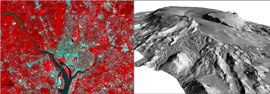 Example of a satellite image on the left and a LIDAR DEM on the right