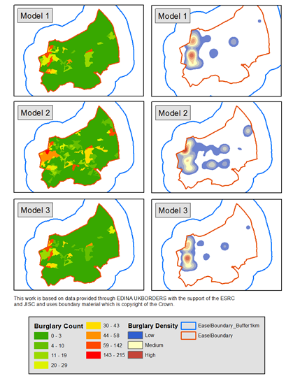 Example from some work on agent-based modelling of burglary in Leeds